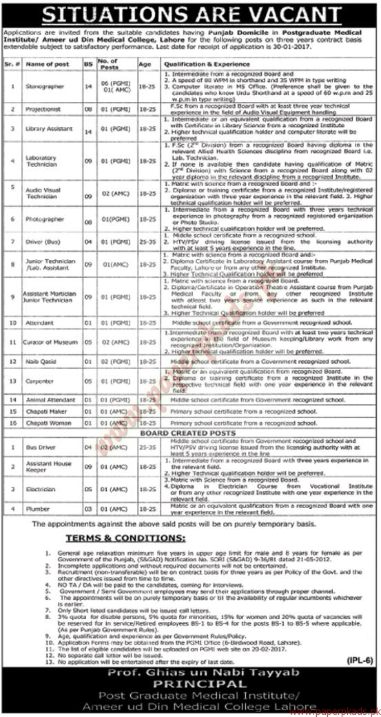 Ameer ud Din Medical College Lahore Jobs