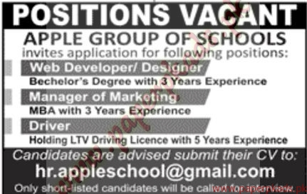 Apple Group of School Jobs - Jang Jobs ads 03 January 2017