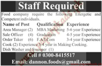 Area Managers Sales Officers Order Taker Jobs in Food Company