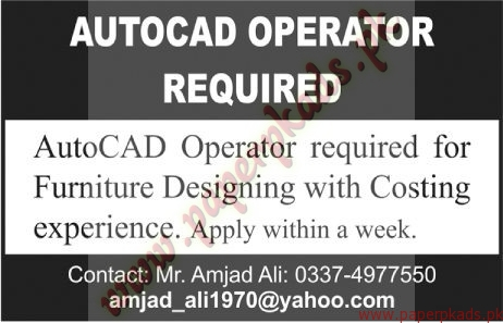 AutoCad Operators Required - The News Jobs ads 01 January 2017