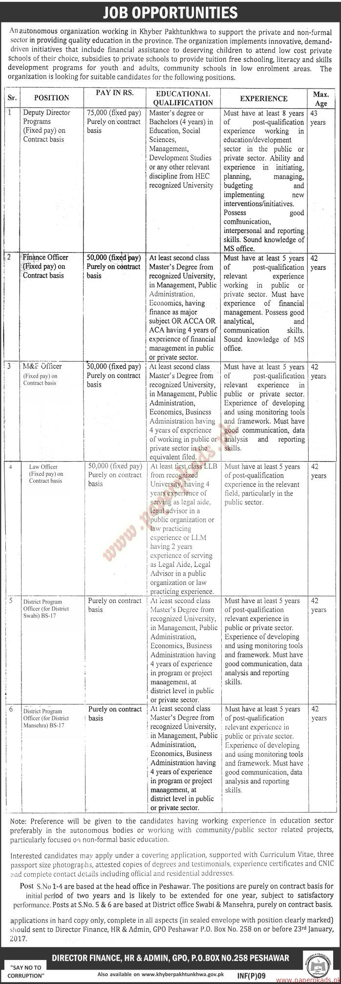 Autonomous Organization Jobs - The News Jobs ads 04 January 2017