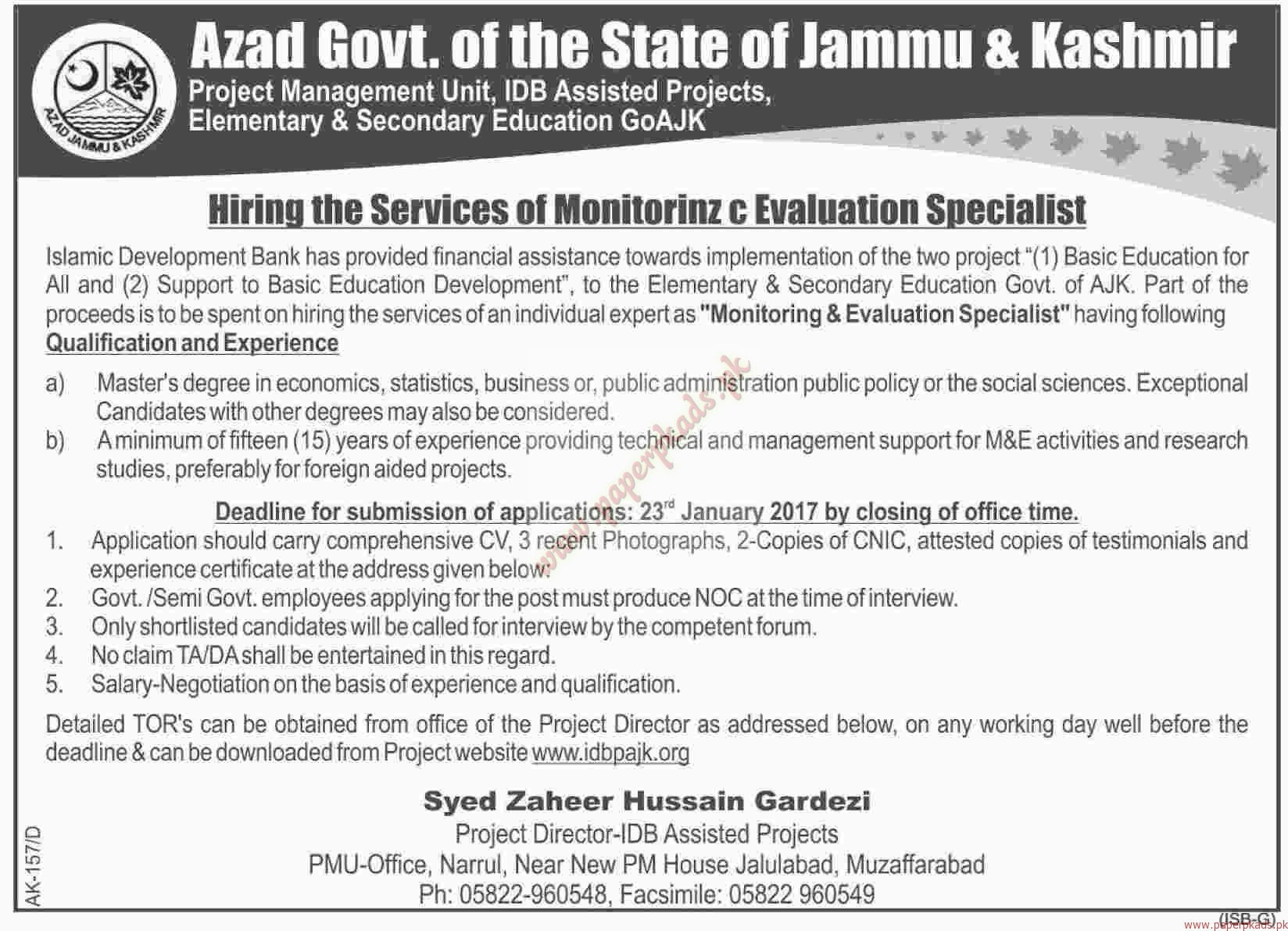 Azad Govt of the State of Jammu & Kashmir Jobs - Dawn Jobs ads 04 January 2017