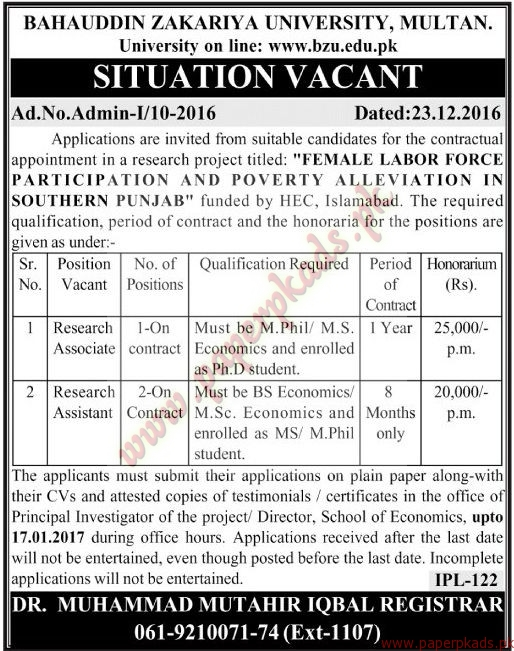 Bahauddin Zakariya University Multan Jobs 2