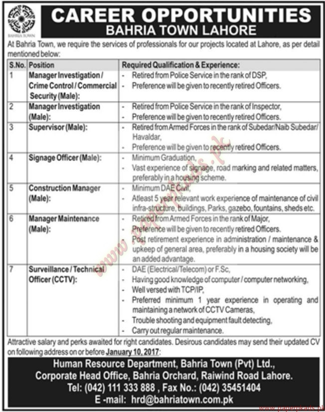 Bahria Town Lahore Jobs - Jang Jobs ads 01 January 2017