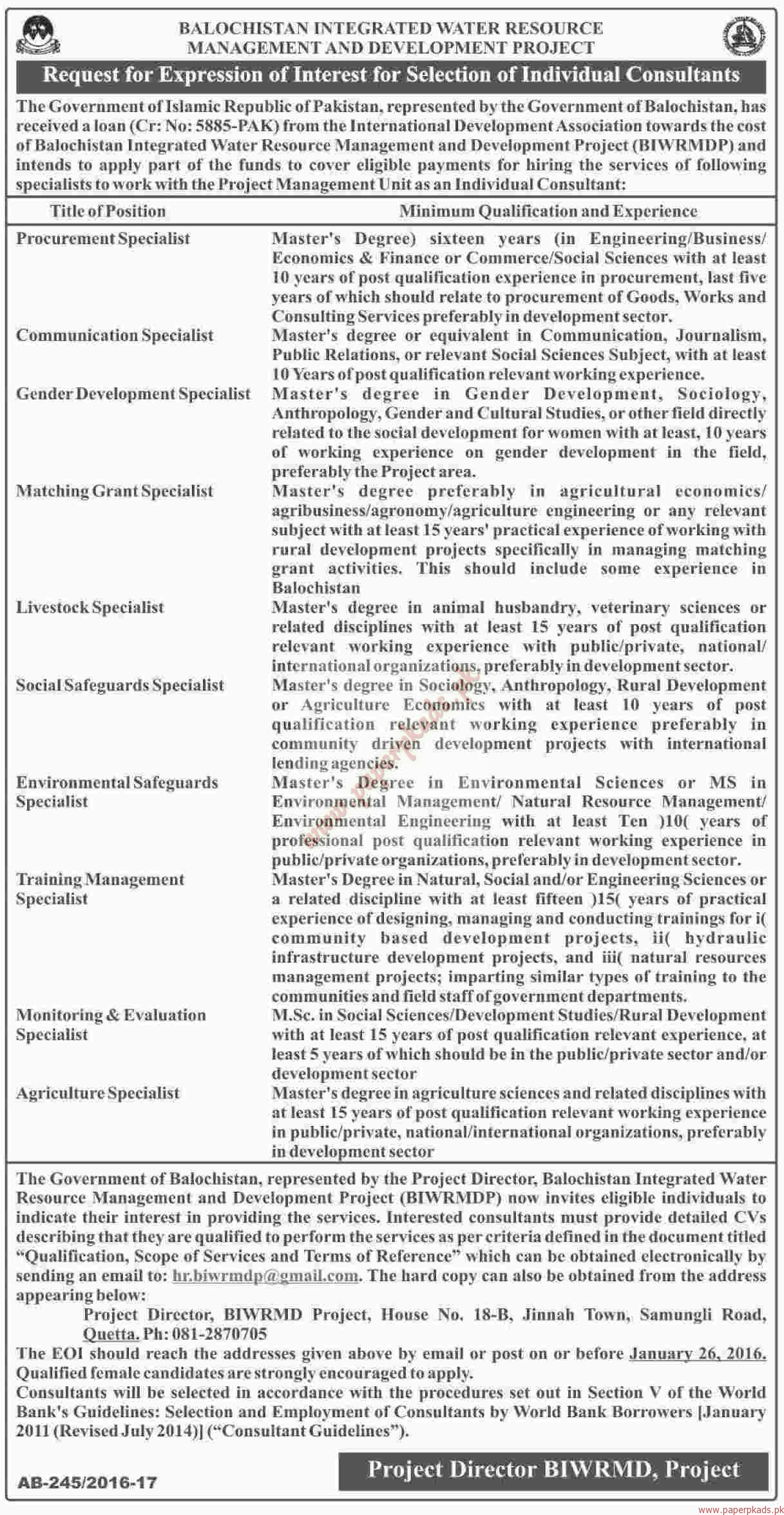 Balochistan Integrated Water Resource Management and Development project Jobs