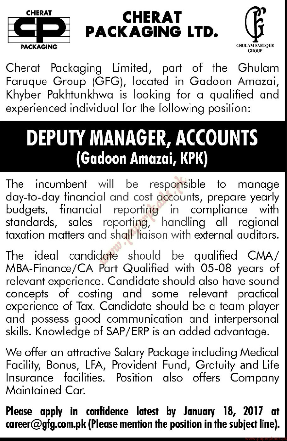 Cherat Packaging Ltd Jobs - Mashriq Jobs ads 01 January 2017