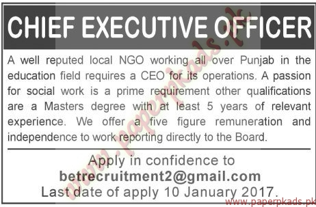 Chief Executive Officers Jobs - The News Jobs ads 01 January 2017