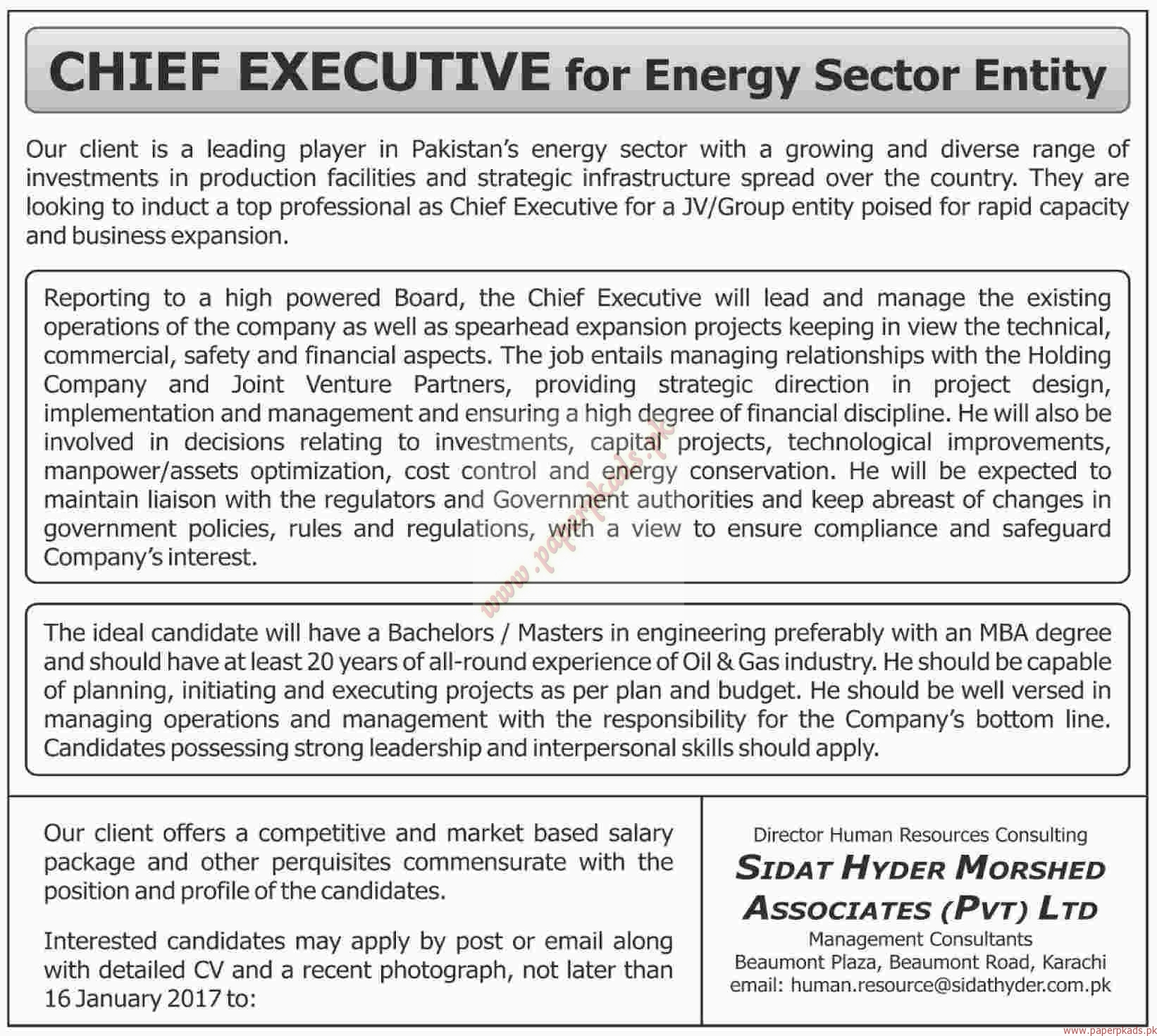 Chief Executive for Energy Sector - Dawn Jobs ads 01 January 2017