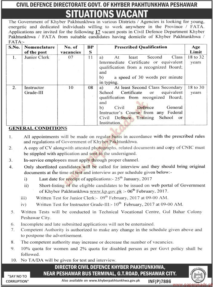 Civil Defence Directorate Govt of KPK Jobs - The News Jobs ads 01 January 2017
