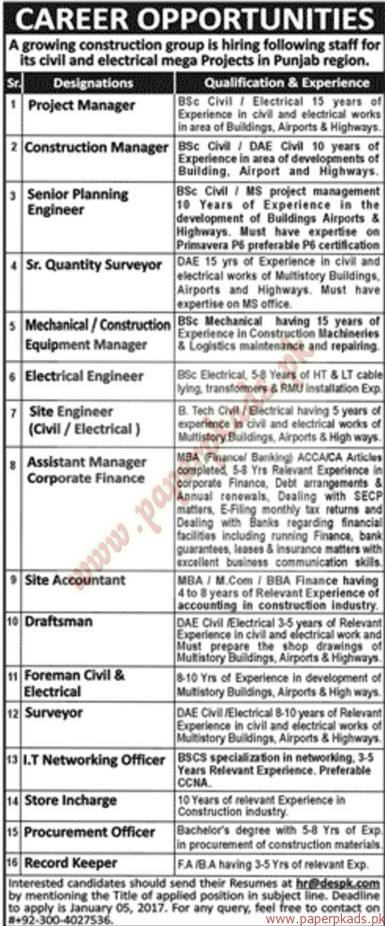 Construction Group Jobs - Jang Jobs ads 03 January 2017