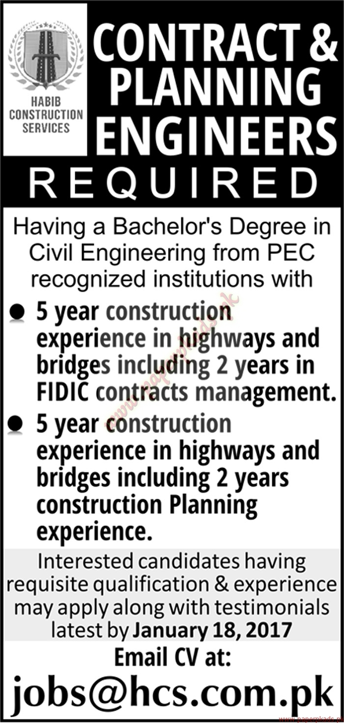 Contractors & Planning Engineers Required