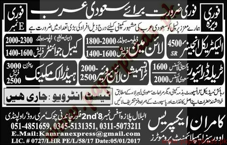 Electrical Engineers Line Man Mechanics and Drivers Jobs