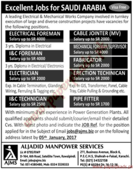 Electrical Foreman, I&C Foreman, Electricians, Pipe Fitters, Fabricators and Other Jobs - Jang Jobs ads 01 January 2017