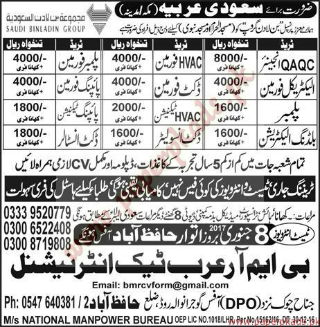 Engineers Insulators Electricians Plumbers & Foreman Jobs in Saudi Arabia