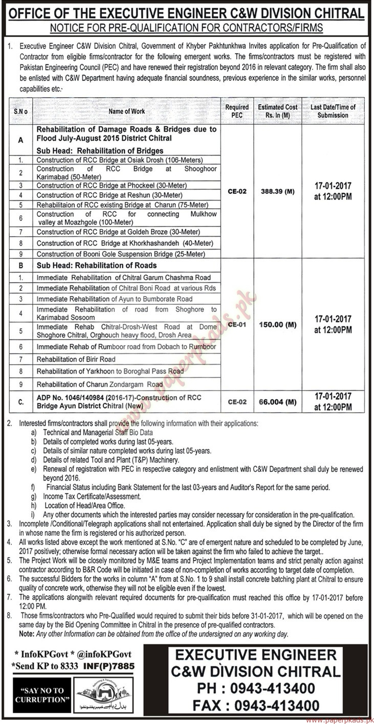 Executive Engineer C&W Division Jobs - Mashriq Jobs ads 03 January 2017