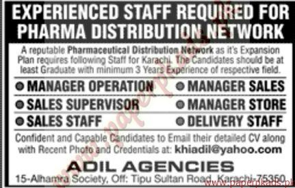 Experienced Staff Required for Pharma Distribution Networks