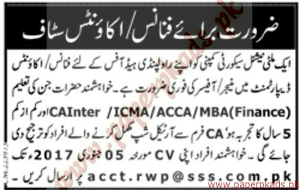 Finance and Accounts Staff Required - Jang Jobs ads 01 January 2017