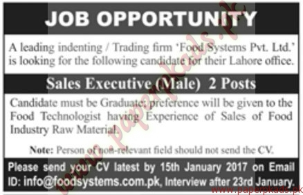 Food Systems Private Ltd Jobs