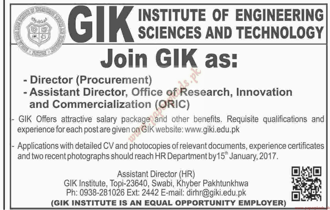 GIK Institute of Engineering Sciences and Technology Jobs - Dawn Jobs ads 01 January 2017