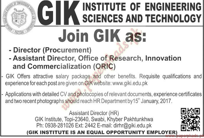 GIK Institute of Engineering Sciences and Technology Jobs - The News Jobs ads 01 January 2017