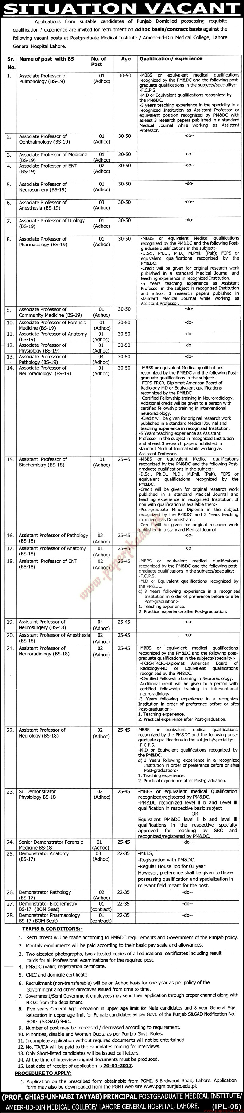 General Hospital Lahore Jobs - Nawaiwaqt Jobs ads 04 January 2017