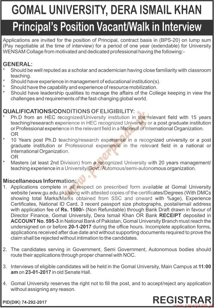 Gomal University Dera Ismail Khan Jobs