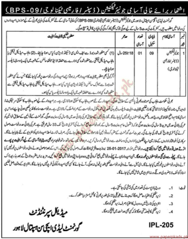Government Lady Atchison Hospital Lahore Jobs