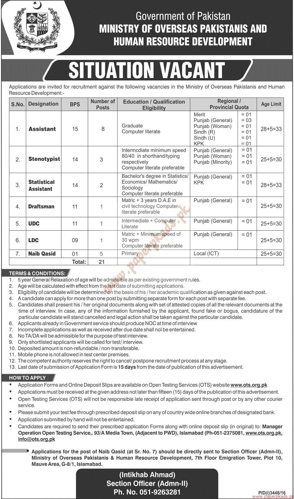 Government of Pakistan - Ministry of Overseas Pakistanis and Human Resource Development Jobs