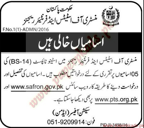 Government of Pakistan - Ministry of States and Frontiers Regions Jobs