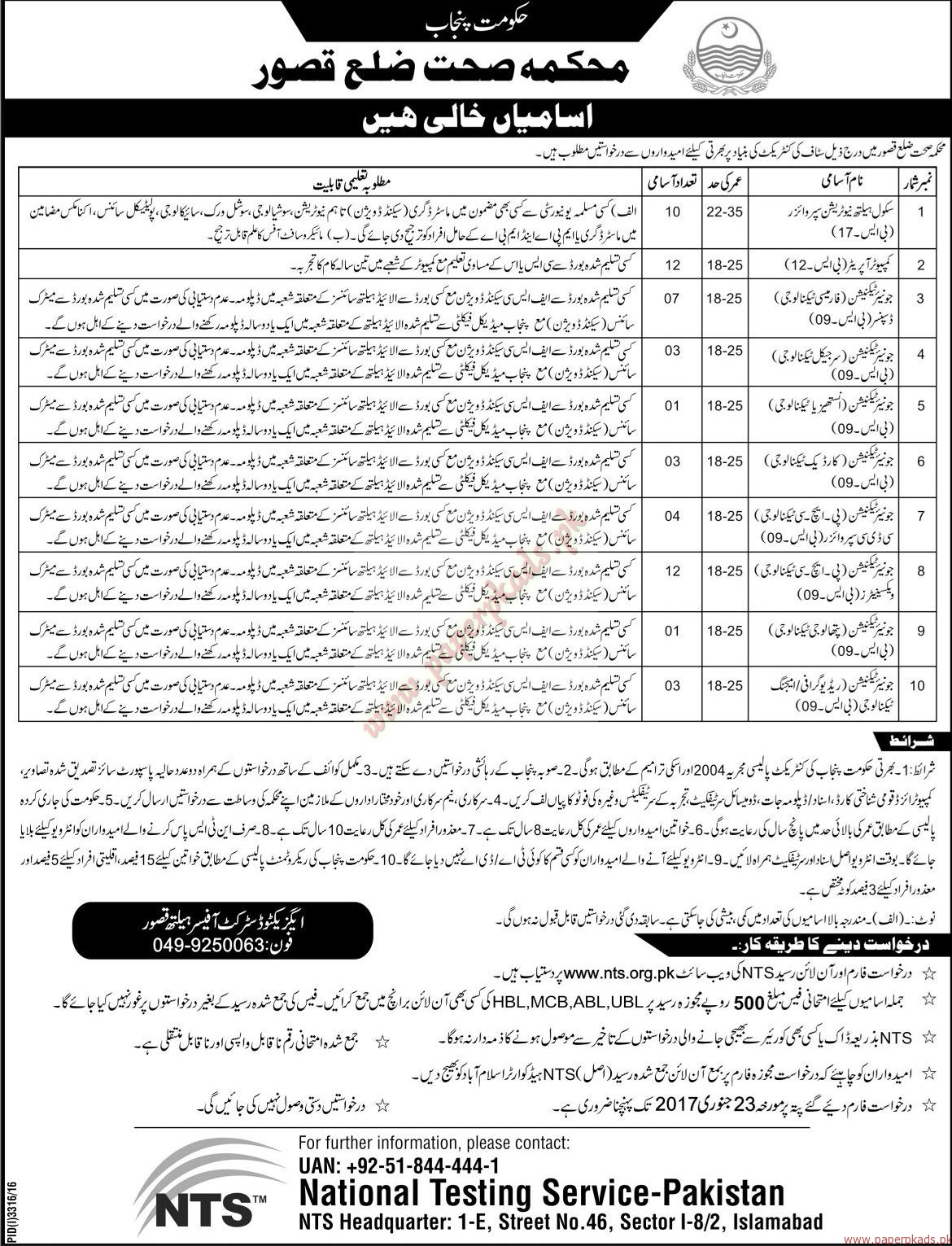 Government of Punjab - Health Department Kussur Jobs - Jang Jobs ads 01 January 2017