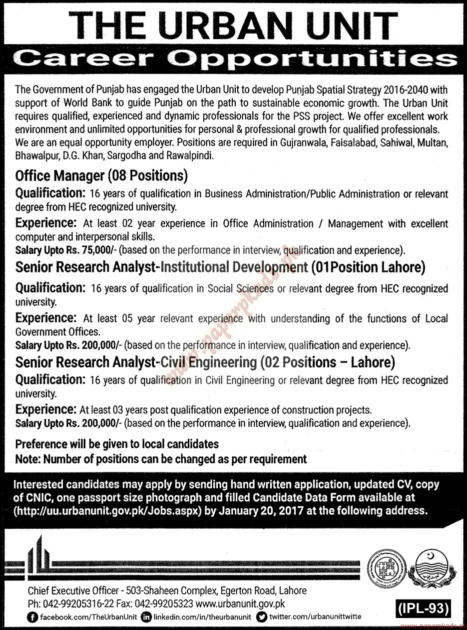 Government of Punjab - The Urban Unit Jobs - The Nation Jobs ads 05 January 2017