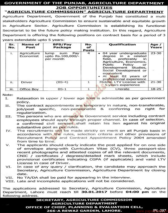 Government of the Punjab - Agriculture Department Jobs - Express Jobs ...: http://paperpkads.pk/government-of-the-punjab-agriculture-department-jobs-express-jobs-ads-13-january-2017/