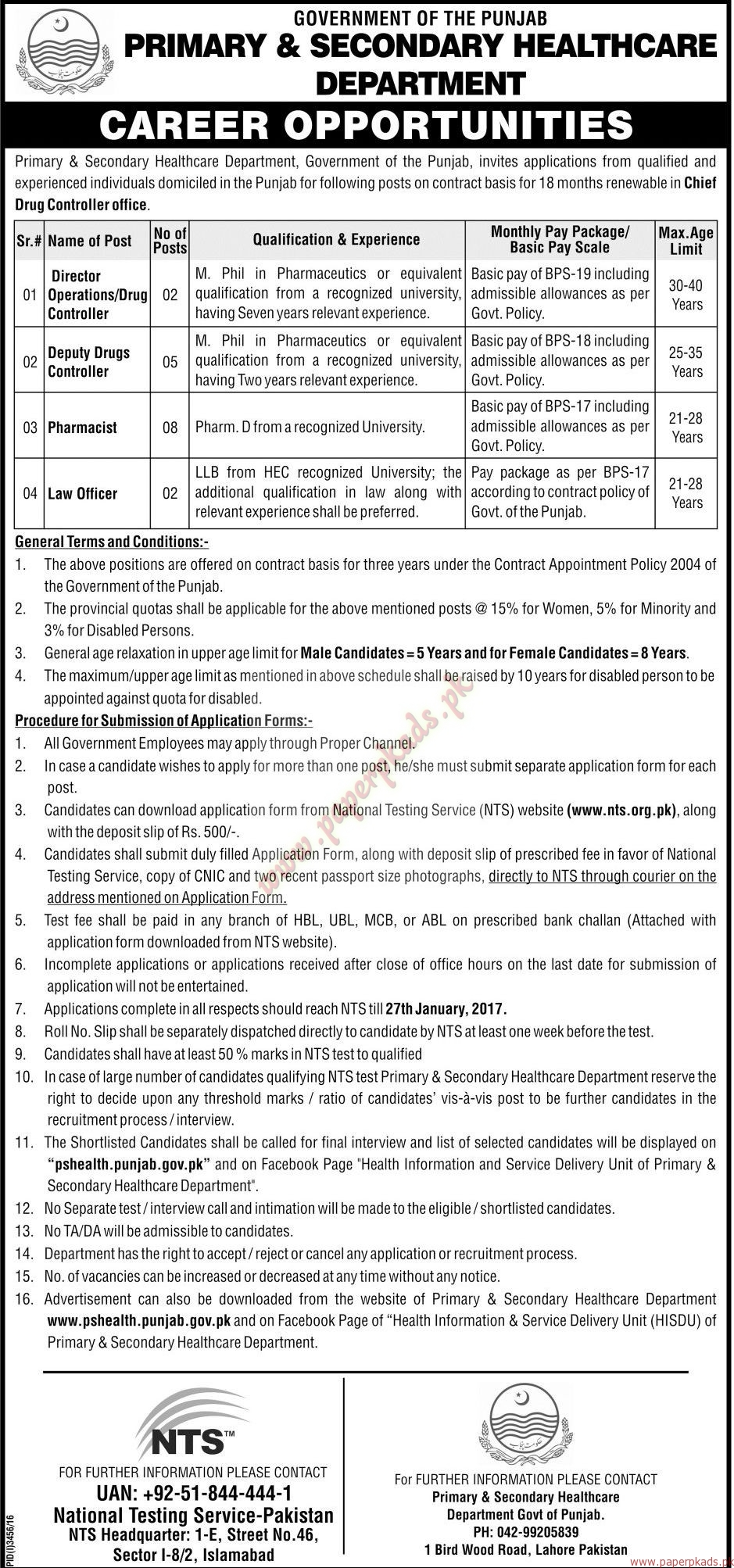 Government of the Punjab - Primary & Secondary HealthCare Department Jobs 1