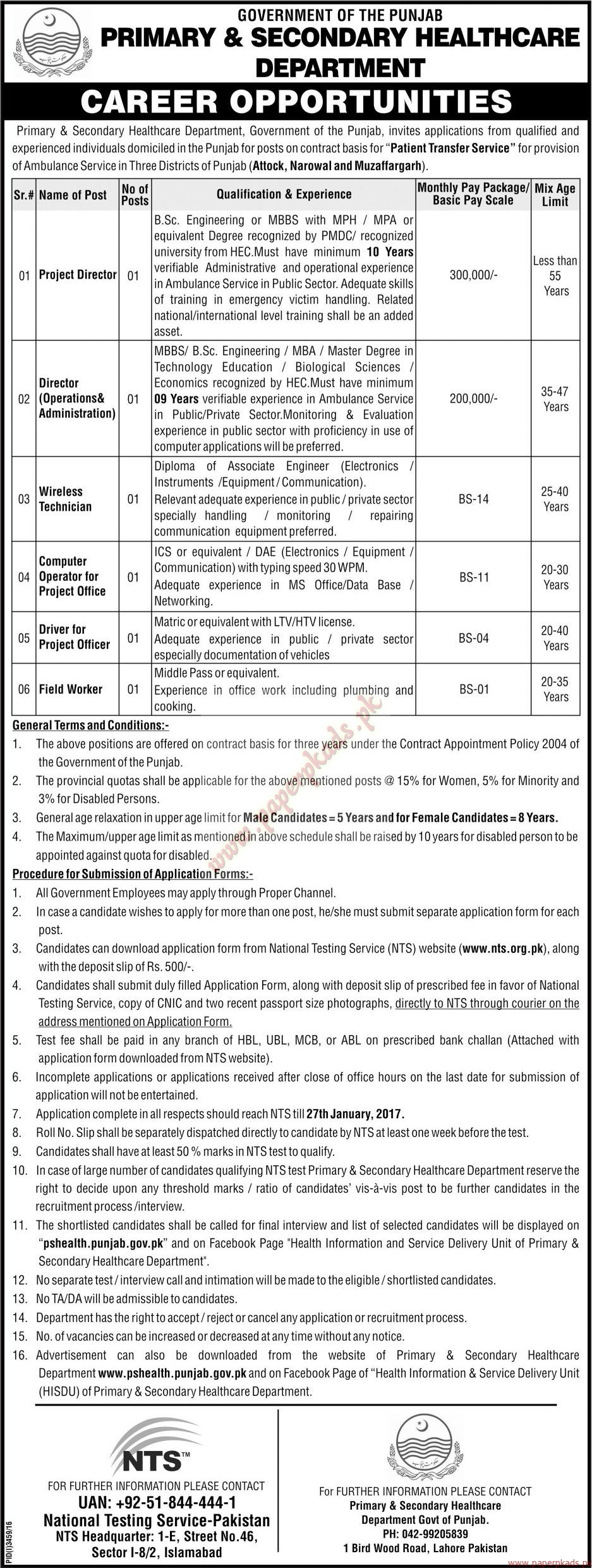 Government of the Punjab - Primary & Secondary HealthCare Department Jobs 2