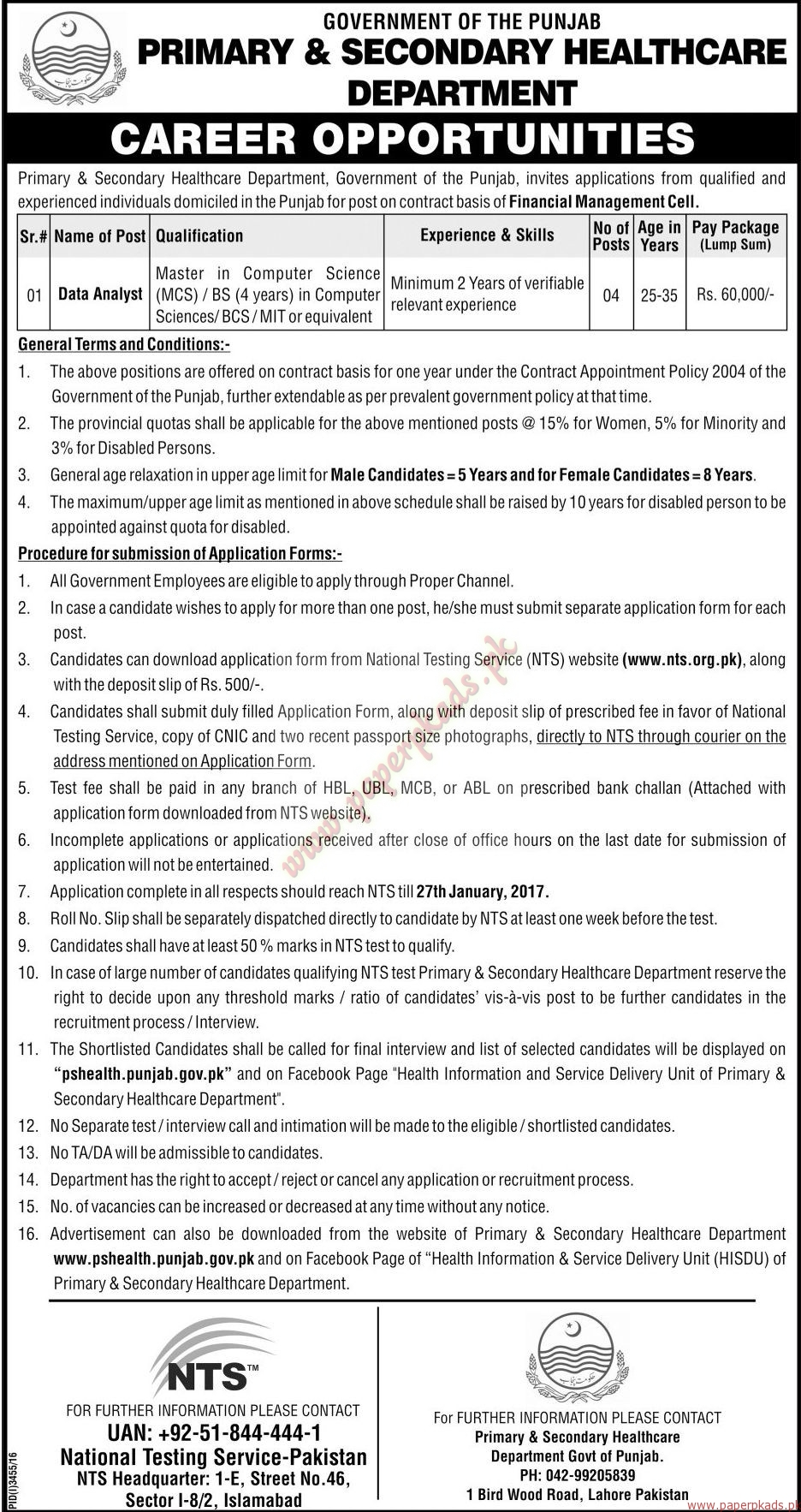 Government of the Punjab - Primary & Secondary HealthCare Department Jobs 3