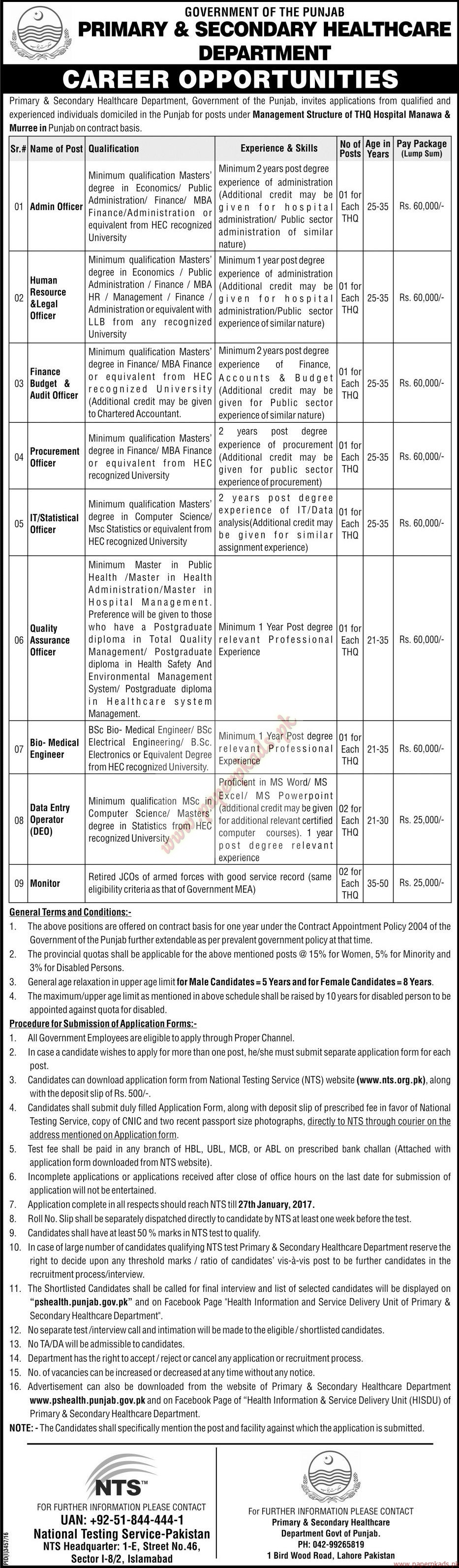 Government of the Punjab - Primary & Secondary HealthCare Department Jobs 4