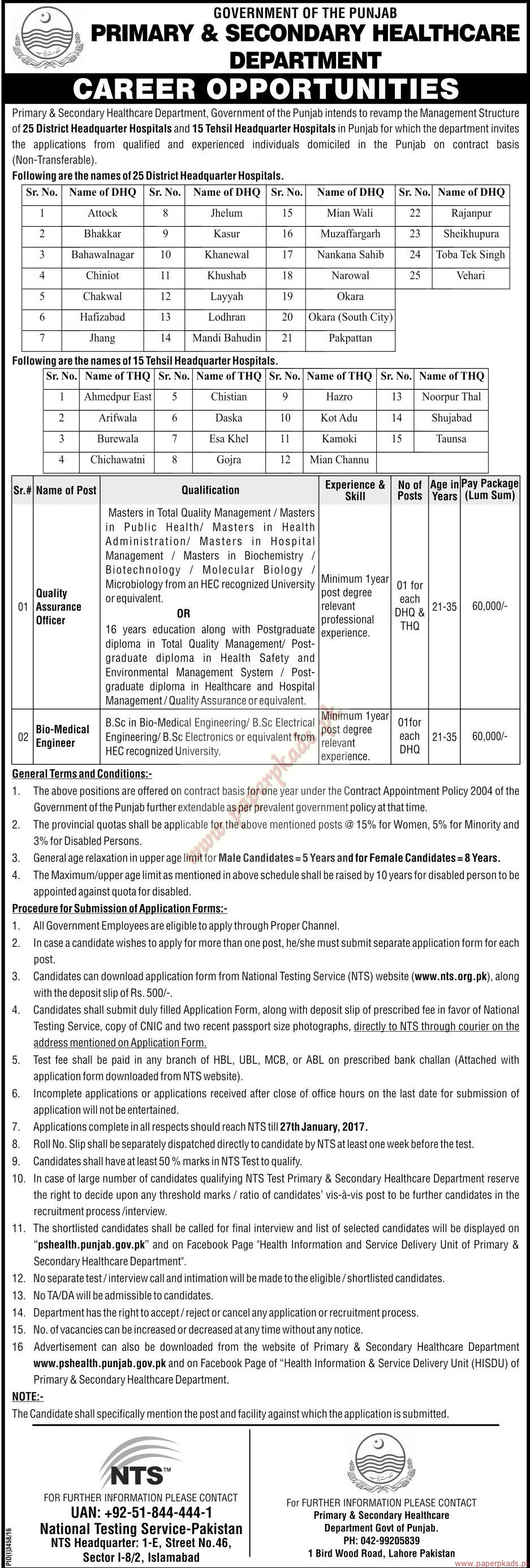 Government of the Punjab - Primary & Secondary HealthCare Department Jobs 5