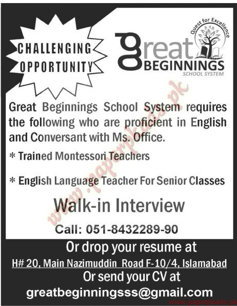 Great Beginnings School System Jobs - The News Jobs ads 01 January 2017