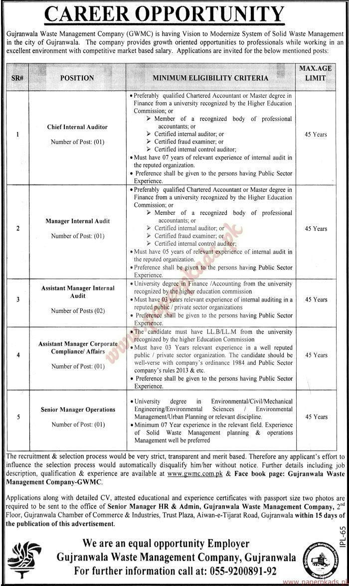 Gujranwala Waste Management Company Jobs