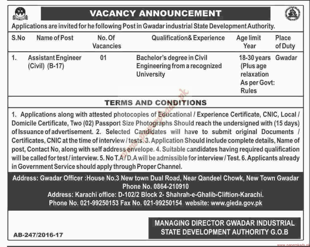 Gwadar Industrial State Development Authority Jobs