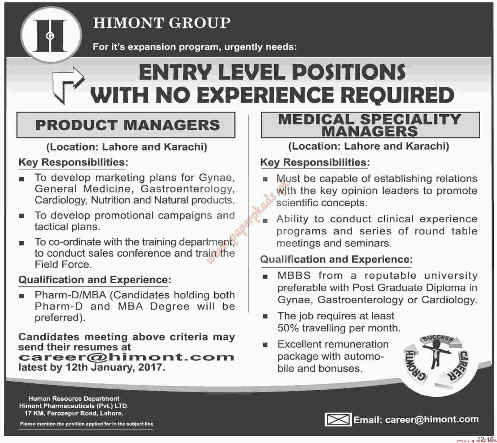 HIMONT Group Jobs - Dawn Jobs ads 01 January 2017