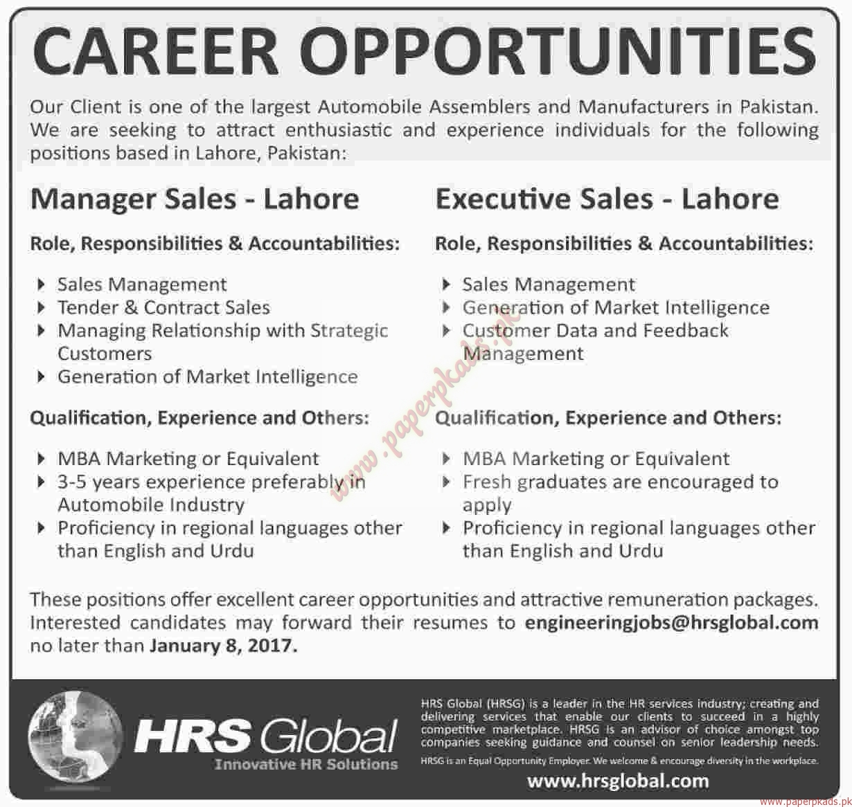 HRS GLobal Jobs - Dawn Jobs ads 01 January 2017