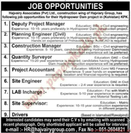 Hajvary Association Private Ltd Jobs - Jang Jobs ads 04 January 2017