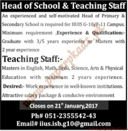 Head of School & Teaching Staff Required