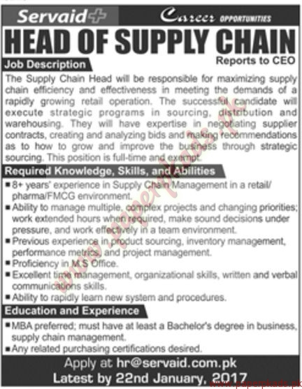 Head of Supply Chain Jobs