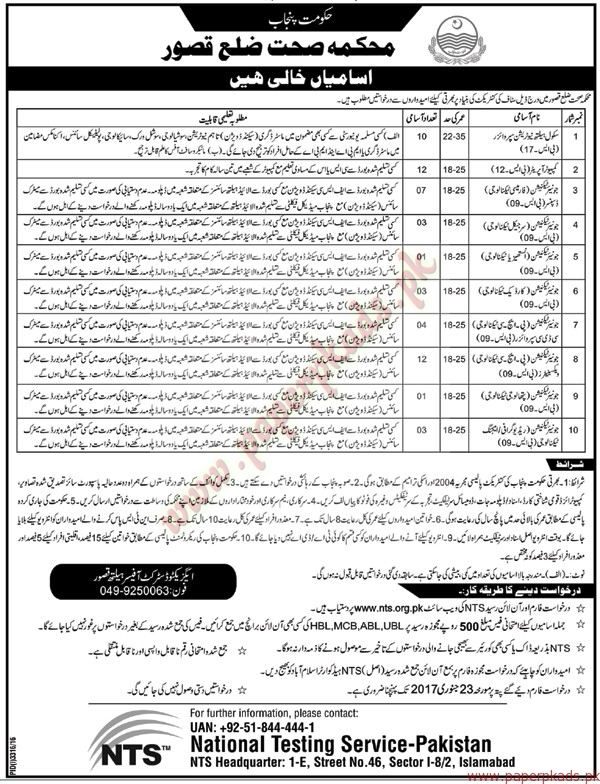 Health Department Kassur Jobs - Nawaiwaqt Jobs ads 01 January 2017