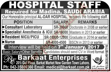 Hospital Staff Required - Jang Jobs ads 01 January 2017