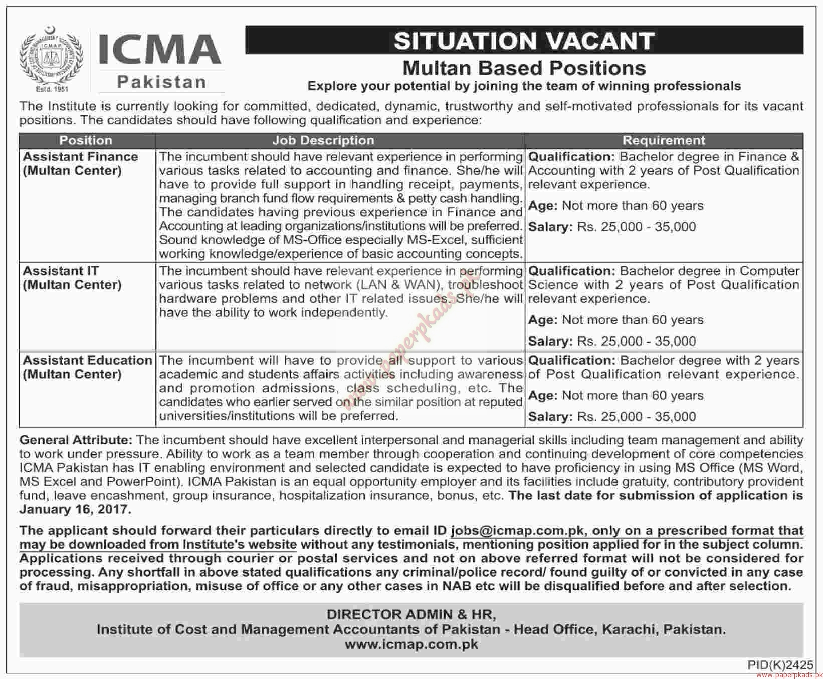 ICMA Pakistan Jobs - Dawn Jobs ads 01 January 2017