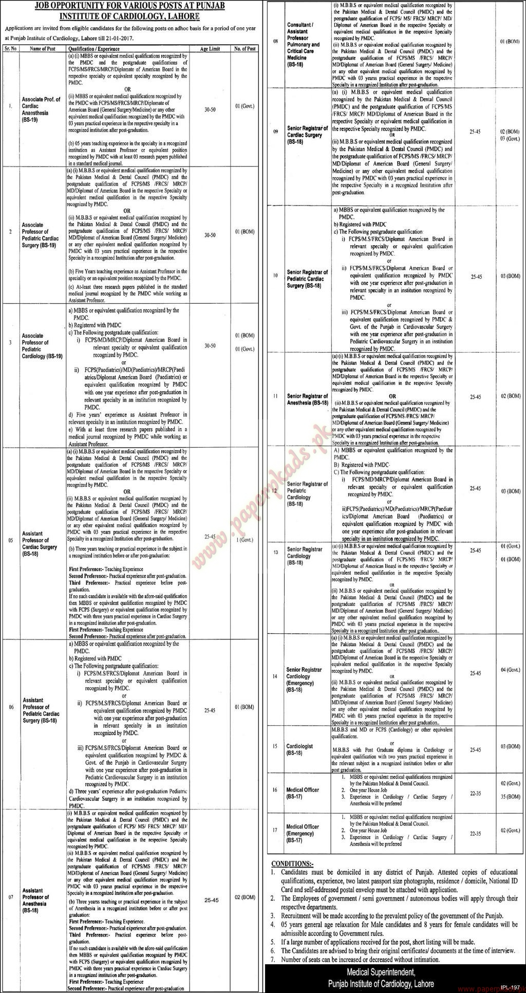 Institute of Cardiology Lahore Jobs
