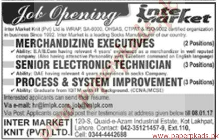 Inter Market Knit Private Ltd Jobs - Jang Jobs ads 01 January 2017